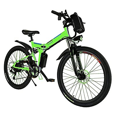 rainbod Electric Mountain Bike for Adults 26'' E-Bike with 36V 8AH Lithium-Ion Battery, 21 Speed Shock-Absorbing Mountain Bicycle (Green)