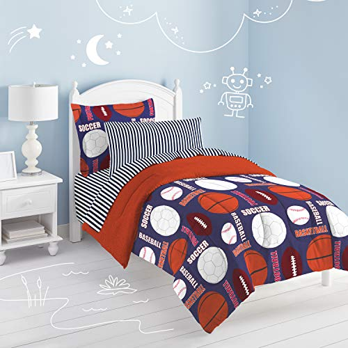 dream FACTORY Kids 5-Piece Complete Set Easy-Wash Super Soft Microfiber Comforter Bedding, Twin, Navy All Sports