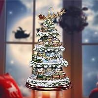 クリスマスウィンドウステッカー、クリスマスツリー回転彫刻トレインリースウィンドウペーストステッカー装飾、家のために飾る窓ガラスステッカー(B)