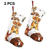 YudoHong Cartoon Animal Printed 12'Christmas Stockings Holiday Candy Gift Bags Set de 2