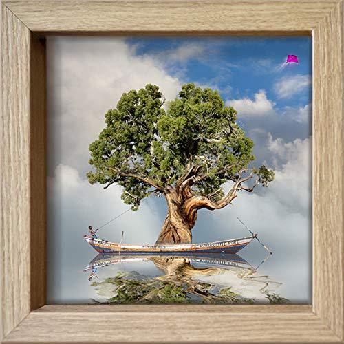 International Graphics - Postal enmarcada - Maïlo/M-L Vareilles - ''Rêve de nature : le souffle''- 16 x 16 cm - Marco disponible en 4 colores - Color del marco: Madera/Natural - Serie LUNA