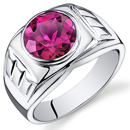 Mens 5.50 Carats Created Ruby Ring Sterling Silver Size 11