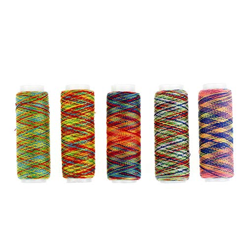 H&Y 5 Stück Nähgarne Handsteppung Regenbogen Farbe Stickerei Nähgarn Garn Werkzeug für Haushalte und Heimwerker