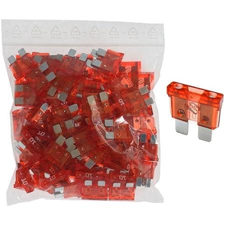 100 X Flachstecksicherung Sicherung 10a 32v Rot Auto
