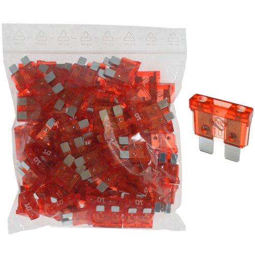 100 x Flachstecksicherung - Sicherung 10A / 32V / rot