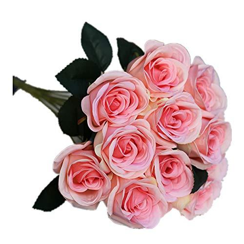 Jun7L Künstliche Blumen, Kunstblumen Seide Künstliche Rosen 12 Köpfe Brautstrauß für Hausgartenparty Hochzeitsdekoration Rosa 40x6cm