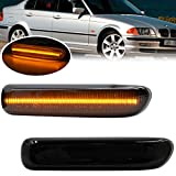 Smoked Lens Side Marker Lamps for BMW E46 1999-2001 3 Series Sedan E46 & 1999-2003 3 Series Coupe E46 Amber LED Front Sidemarker Dynamic Sequential Blink Turn Signal Light Kits