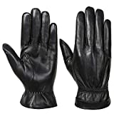 Acdyion Herren Echtleder Handshuche Winter warm Touch-Screen Fahren formelle Anlässe Handschuhe, mit weichem Innenfleece (Black, L)