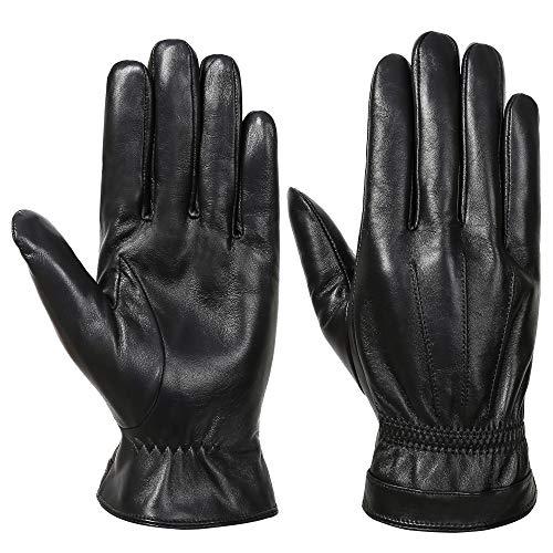 Acdyion Herren Winter Echtleder Handschuhe Warm Touch Screen Lederhandschuhe Outdoor Fahren Warme Winterhandschuhe (Black, M)