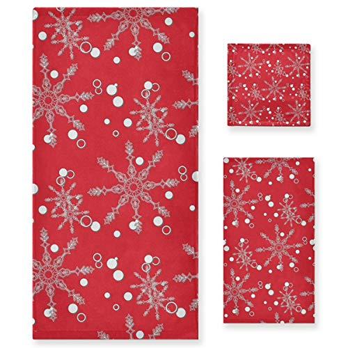 MNSRUU - Juego de toallas de baño, diseño de copos de nieve, color rojo