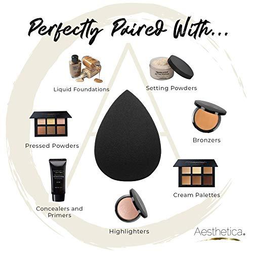 Aesthetica Cosmetics Beauty Sponge Blender - Latex Free and Vegan Makeup Sponge Blender - For Powder, Cream or Liquid Application - One Piece Make Up Sponge