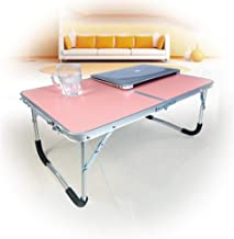 Portable Bed Laptop Table Lazy with Folding Light Small Table College Dormitory Study Desk Outdoor Folding Table Portable Dining Table Rectangle Camping Table Save Space Desk (Color : Pink)