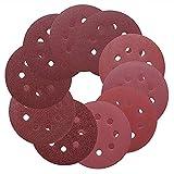 YJRIC papel de lija 10 piezas de papel de lija redondo de 5 pulgadas y 125 mm, disco de ocho orificios, hojas de arena, grano 40-3000, pulido de disco de lijado con gancho y bucle, 400
