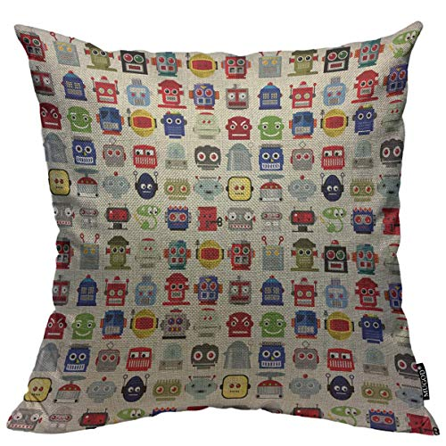 Mugod Throw Pillow Cover Atomic Robots Pattern 50S Android Home Decorative Square Pillow Case for Men Women Boy Gilrs Bedroom Livingroom Cushion Cover 18x18 Inch, Multicolor Pillowcase