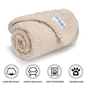 furrybaby Premium Fluffy Fleece Dog Blanket, Soft and Warm Pet Throw for Dogs & Cats (Small (2432″), Beige Blanket)