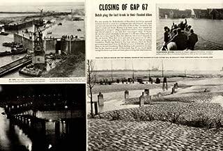 2-PG 1953 Article ON The Dutch Closing Gap in Dike 67 Original Paper Ephemera Authentic Vintage Print Magazine Ad/Article