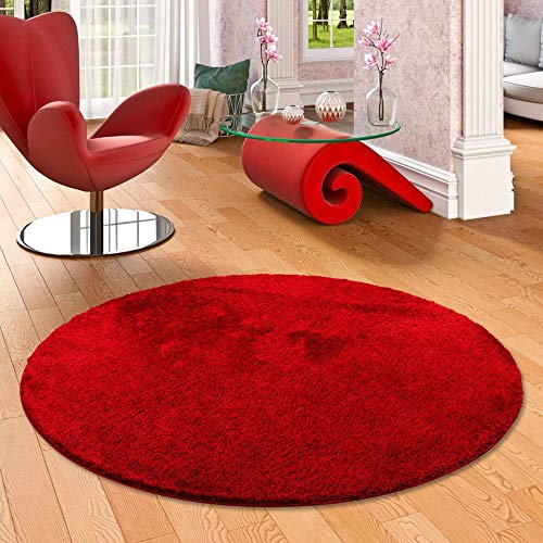 Palace - Tapis Shaggy à poils longs rond - rouge sombre - 4 tailles disponibles