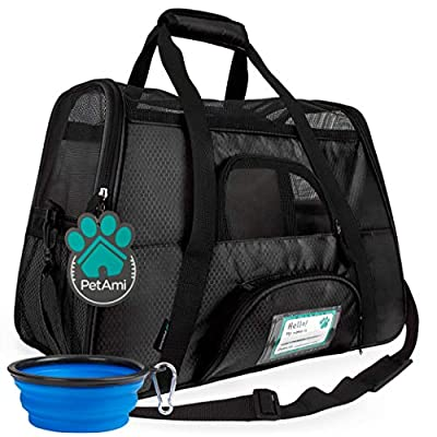 PetAmi Premium Airline Approved Soft-Sided Pet Travel Carrier   Ideal for Small - Medium Sized Cats, Dogs, and Pets   Ventilated, Comfortable Design with Safety Features (Small, Black)