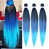 YUKAYULA 3Packs/Lot 26'' Pre-Stretched Hot Water Setting Braiding Hair Extensions Yaki Texture Synthetic Ombre Jumbo Easy braid hair For Women (Black to Purple to Blue)
