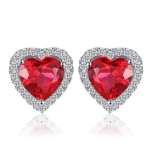 JewelryPalace Pendientes Corazón del océano 3.8ct Rubí rojo creado Amor para siempre Halo Aretes Plata de ley 925