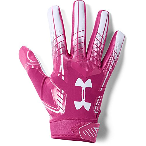 Under Armour mens F6 Football Gloves Tropic Pink (654)/White Small/Medium