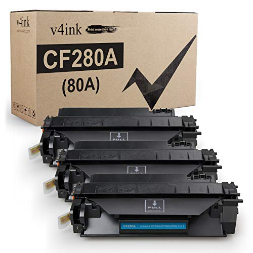 V4INK 3PK Compatible Toner Cartridge Replacement for HP 80A CF280A Toner Cartridge Black Ink for HP Laserjet Pro 400 M401N M401DN M401DNE M401DW HP MFP M425DN M425DW Printer