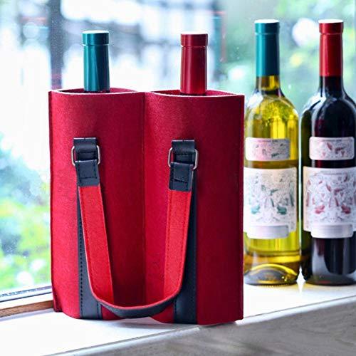 Bolsas de fieltro para 2 botellas, bolsa de fieltro, cesta para botellas, botella de vino, botella de cerveza, bolsa de transporte, para viajes, fiestas, Navidad, Acción de Gracias