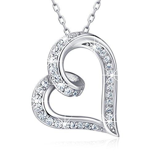 "925 Sterling Silver Infinity Heart Necklace – Billie Bijoux ""Endlessness Love"" Platinum Plated Diamond Pendant"