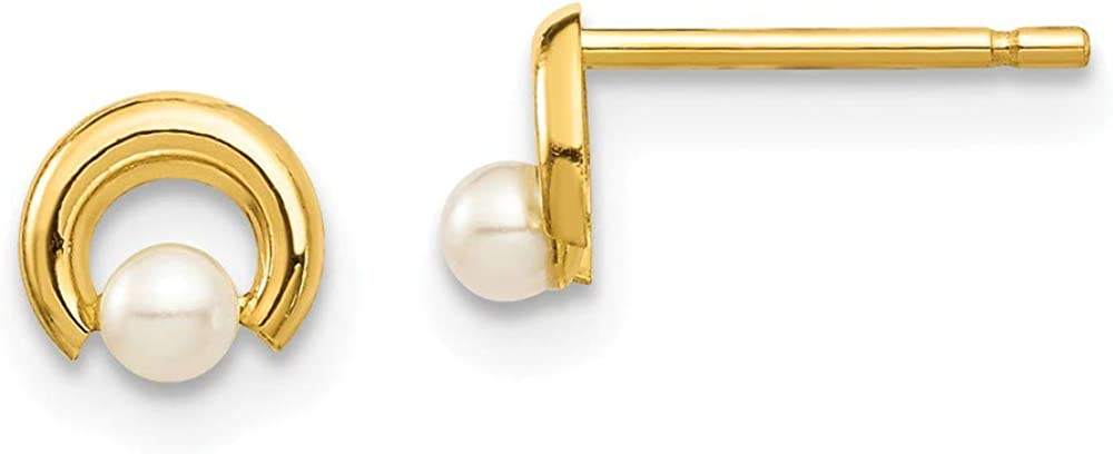 14k Yellow Gold White Button Freshwater Cultured Pearl Circle Post Stud Earrings Ball Fine Jewelry For Women Gifts For Her