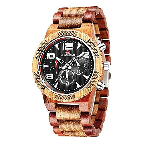 yuyan Reloj de Madera for Hombres, dial Grande Europeo y Americano, Reloj multifunción, Cuarzo, Calendario, Reloj Deportivo Vendido en Caliente, Brazalete de sándalo, el Regalo más práctico