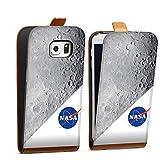 DeinDesign Étui Compatible avec Samsung Galaxy S6 Edge Étui à Rabat Étui magnétique NASA Lune...
