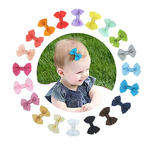 U-A 5cm Mini Hair Bow Grosgrain Ribbon Hair Bows with Non-slip Mat, for Baby Girls Toddlers Kids(20 colors)