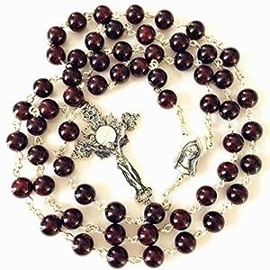 elegantmedical 925 Sterling Silver Garnet Gemstone Bead Rosary Cross Catholic Necklace