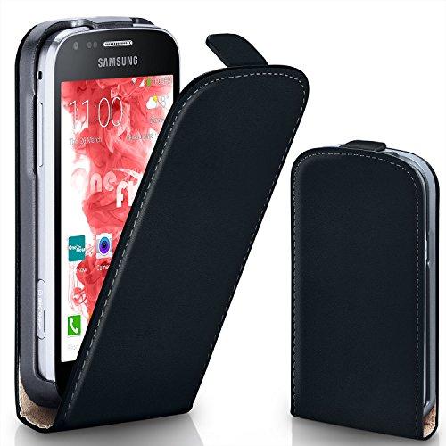 Pochette OneFlow pour Samsung Galaxy Trend / Trend Plus housse Cover magnétique | Flip Case étui housse téléphone portable à rabat | Pochette téléphone portable téléphone portable protection bumper housse de protection avec coque en DEEP-BLACK