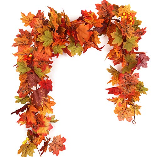 RECUTMS 2 Pcs Artificial Autumn Maple Leaves Garland 5.7Ft/Pieces Fall Garland Hanging Vine Garland Vines Hanging Plants Colorfu Fall Decor for Home Christmas Garland Wedding Party