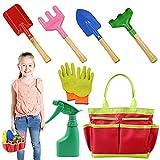 AGAKY Herramientas de Jardín para Niños, Kit Jardineria Niños 7 Piezas con Bolsa de Herramientas, Regadera, Paleta de...