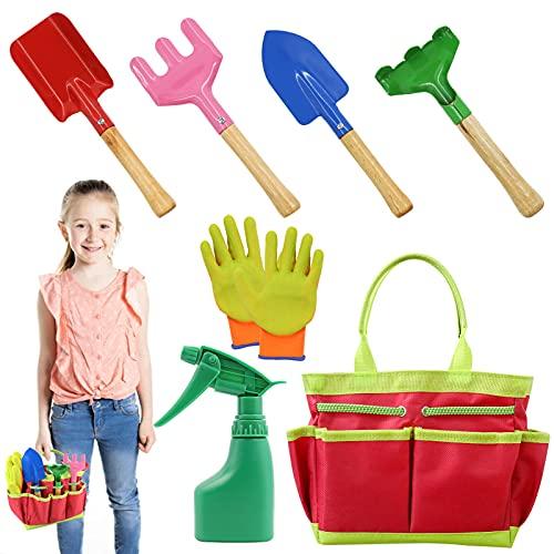 AGAKY Herramientas de Jardín para Niños, Kit Jardineria Niños 7 Piezas con Bolsa de Herramientas, Regadera, Paleta de Mano, Pala de Mano, Rastrillo de Mano, Tenedor de malezas, Guantes Jardinería