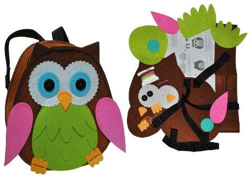 alles-meine.de GmbH Bastelset: Eule - Rucksack - Filztasche zum Sticken, Nähen per Hand - Kinderrucksack Filz Eulen grün - Tasche Handarbeiten Filz erstes Nähen Handarbeit