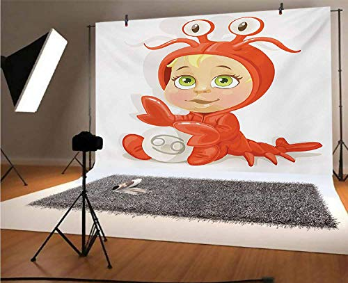 Sfondo fotografico in vinile con astrologia, 30 x 20 m, divertente cartello per il cancro del bambino con artigli e quattro occhi gioia bambini felicità su stelle tema sfondo per foto sfondi