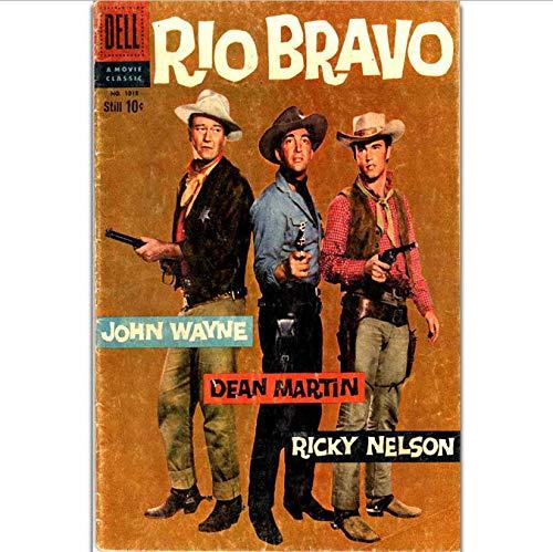 DPFRY Cuadro En Lienzo Rio Bravo John Wayne Dean Martin Classic Western Movie Wall Art Pintura Impresión En Lienzo De Seda Cartel Decoración para El Hogar 40X60Cm Wk96Y Sin Marco