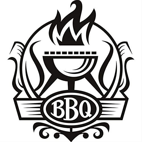 Barbacoa Insignia Calcomanía Vinilo Extraíble Impermeable Decoración Del Hogar Parrilla Con Pegatinas De Pared De Fuego Para Cocina 59 * 64Cm