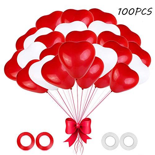 O-Kinee Luftballons Hochzeit, 100 Stück Herzluftballons Rot Weiß, Herz Luftballons,Latex Herz Ballon Helium 12 Zoll für Hochzeit Verlobung Valentinstag JGA Party Deko (Rot Weiß)