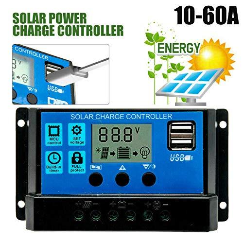 Solar Laderegler, 50A 12V / 24V Solarpanel Batterieregler Laderegler mit zwei USB-Anschlüssen und LCD-Display für Wohnwagen