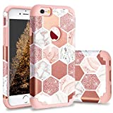 Casewind iPhone 6 Case, iPhone 6s Case, Glitter Marble Design Slim Fit Hard PC & Soft Silicone Shockproof Rugged Bumper Anti-Scratch Dual Layer Protective Phone Cover for iPhone 6/6s,Rose Gold