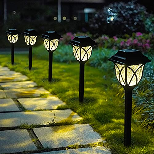 LAMTREE Solar Lights Garden Outdoor (Classic), 8 Packs LED Solar Path Light Ground for Lawn Landscape Patio Yard Pathway Walkway Driveway Sideway (Warm White)
