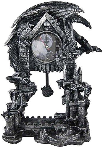 DWK Dragon Vintage Pendulum Clock | Victorian Halloween Decor | Witchy Decor Gothic Home Decorative Desk Accessories | Dragon Home Decor Small Table Clocks - 13'