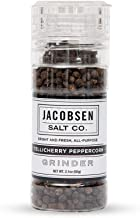 Jacobsen Salt Co. Specialty Sea Salt with Refillable Loaded Grinder for Gourmet Cooking, Tellicherry Peppercorns, 2.15 Ounce