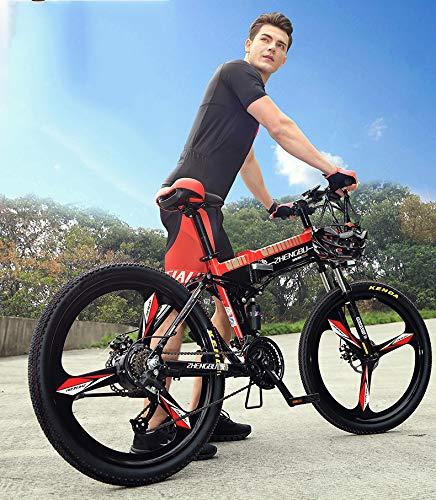 51OqILh2XpL - MDDCER Elektrisches faltbares Mountainbike - Erwachsene Doppelscheibenbremse und vollgefederte Fahrräder, (90 km 48 V 14,5 Ah 400 W) E-Bike mit intelligentem LED-Messgerät, 27-Gang