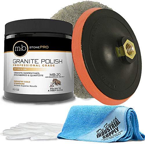 MB-20 Stone Granite Polishing Kit 8.5 Oz Granite Polishing Compound - 6 1/2 Hogs Hair Pad - Backer - 16x16 Microfiber Cloth - Gloves - BUNDLE - 5 Items
