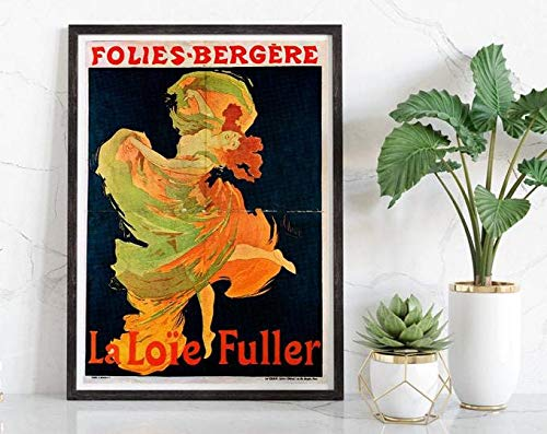 Folies Bergere, Loie Fuller, Vintage Poster, Woman And Dancer, Blue And Orange, Wall Hanging, Fine Art, Gift Idea #2014 | Poster No Frame Board For Office Decor, Best Gift For Family And Your Friends